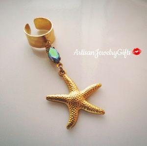 Gold Starfish Antique Gem Ear Cuff